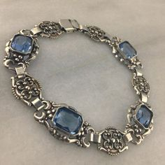 Vintage 835 Silver Bracelet with Aquamarine Glass Made by LoftyMix, $86.00