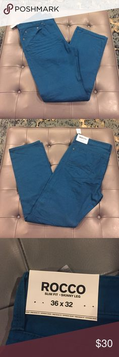 Express Jeans Men's, slim fit skinny leg NWT Rich teal blue color, slim fit men's Express jeans, new with tags Express Jeans Slim Straight