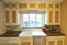 Updating A Kitchen Without Gutting It - Bachelorette Pad Flip Custom Vanity, Bachelorette Pad, Wood Patterns, Home Remodeling, Kitchen Cabinets, Mid Century, Flooring, Kitchens, Tutorials