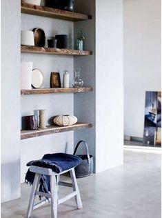 live edge wood shelves for Aim's room Timber Shelves, Reclaimed Wood Shelves, Built In Shelves, Built Ins, Wooden Shelves, Recessed Shelves, Rustic Shelves, Floating Shelves, Wall Shelves
