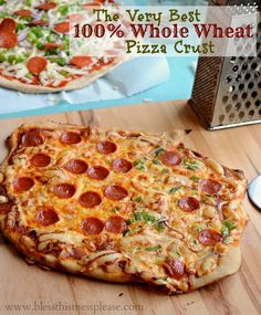 100 % Whole Wheat Pizza Crust - delicious! I make a double batch every week and we can't get enough.