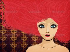 Red haired girl on pattern background ...  adult, background, beautiful, beauty, black, blowing, blue, bright, caucasian, close, complexion, crazy, dye, eyes, fan, female, feminine, flowing, girl, gorgeous, hair, lady, looking, magenta, modern, person, pink, purple, red, redhead, up, wind, windswept, woman, young