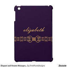 Elegant and Ornate Monogram Belt - Purple Gold 8 iPad Mini Covers