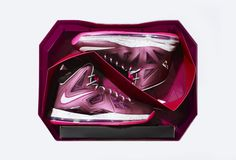 NIKE X LEBRON JAMES CROWN JEWEL PACKAGING - Typically, a 10 year basketball anniversary is celebrated with diamonds, and Nike did just that recently by creating a special, limited edition LeBron James shoe after a decade of producing the basketball player's signature shoe. For this very special colorway, Nike found inspiration in the purple of the Crown Jewels of England.