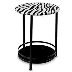 $19.99 Round Side Table with Bottom Storage Shelf - Zebra