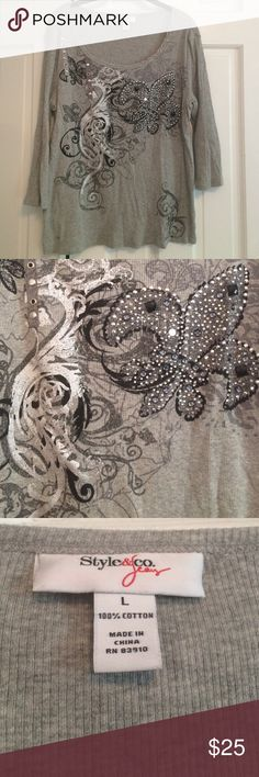 Cute Metallic Gray Shirt Style & Co Jean Shirt.  Large.  Metallic with beads on front. Style & Co Tops Tees - Long Sleeve