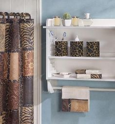 AFRICAN Safari Jungle LEOPARD PRINT Bathroom Set~Shower Curtain, Towels, More!