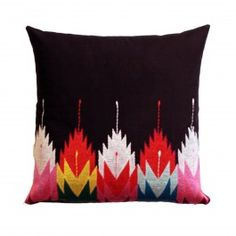 Embroidered Navajo Cushion - An embroidered cushion with a palette of bright contrasting colours. www.safariliving.com