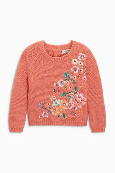 Buy Rust Floral Jumper from the Next UK online shop Cute Baby Boy Outfits, Kids Outfits, Baby Girl Fashion, Kids Fashion, Baby Girl Sweaters, Baby Pullover, Knitted Flowers, Kind Mode, Long Shorts