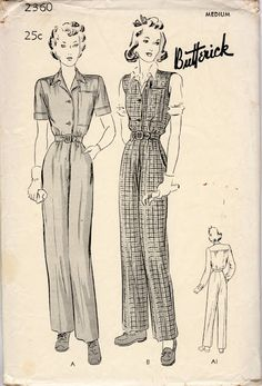 Retro Sewing Unsung Sewing Patterns: Butterick 2360 - Women's and Misses' Work Garment Queer Fashion, 1940s Fashion, Fashion History, Vintage Fashion, Fashion Fashion, 1940s Outfits, Vintage Outfits, Vintage Dress Patterns, Clothing Patterns