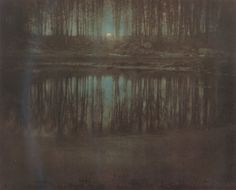 """legrandcirque: """" Edward Steichen, The Pond—Moonlight (Mamaroneck, New York), Source: American Photography—MoMA (Yale Visual Resources Collection) """" all things are perfect Edward Steichen, Richard Avedon, Cindy Sherman, History Of Photography, Color Photography, Straight Photography, Classic Photography, Romantic Photography, Inspiring Photography"""