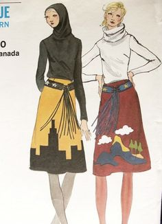 1970s HOODED TOP,APPLIQUE SKIRT, BELT PATTERN MISS VOGUE 8102