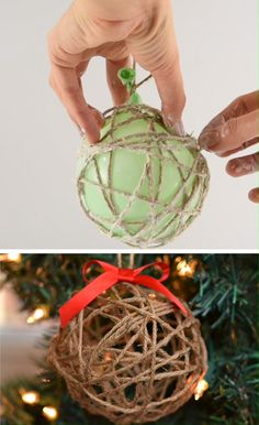 DIY Twine Ball Ornaments Using Balloons, Twine and Glue - - These DIY twine ball ornaments are SO FUN to make and they add such a beautiful, rustic charm to your Christmas tree! This is such a fun Christmas craft! Rustic Christmas Ornaments, Homemade Christmas Decorations, Easy Christmas Crafts, Homemade Ornaments, Christmas Christmas, Christmas Wreaths, Christmas Pictures, Yule Crafts, Twine Crafts