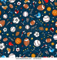"Title: ""Sports Pattern."" Description: ""Great addition to a boys room for a sports theme."" BB - Sports Seamless Pattern Vector - stock vector"