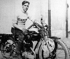 Tazio Nuvolari on a Bianci motorcycle