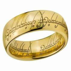 Gold Tungsten The One Ring Lord of the Rings Elvish Text Sizes Titanium Wedding Rings, Titanium Rings, Wedding Ring Bands, Tungsten Rings, Tungsten Carbide, Tungsten Jewelry, Promise Rings For Couples, Dragon Ring, Golden Ring
