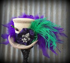 Your place to buy and sell all things handmade Mardi Gras Hats, New Orleans Mardi Gras, Mad Hatter Hats, Tea Party Hats, Top Hats, Green And Purple, Alice In Wonderland, Cowboy Hats, Carnival