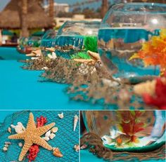 Love this tablescape for pool party, mermaid, under the sea, beach, etc themes