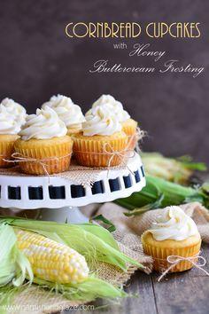 Cornbread Cupcakes with Honey Buttercream Frosting | Garnish & Glaze