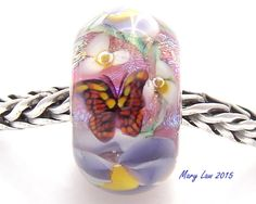 Purple Pansy & Monarch Butterfly Garden Glaslight Artisan Handmade Lampwork Glass Murano Dichroic Sparkle European Charm BHB Bead SRA