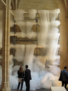 Michel Blazy: Bouquet Final This astonishing work was recently installed in a meticulously well-preserved medieval monastery in Paris. In it, French conceptual artist Michel Blazy plays with foam, an. Land Art, Modern Art, Contemporary Art, Instalation Art, Kinetic Art, Stage Design, French Artists, Art Plastique, Public Art