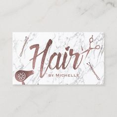 Hair Salon Rose Gold Typography White Marble Business Card Metal Business Cards, Beauty Business Cards, Salon Business Cards, Gold Business Card, Hairstylist Business Cards, Elegant Business Cards, Custom Business Cards, Business Branding, Professional Business Card Design