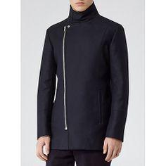 Buy Reiss Rockwell Asymmetric Zip Coat, Navy Online at johnlewis.com