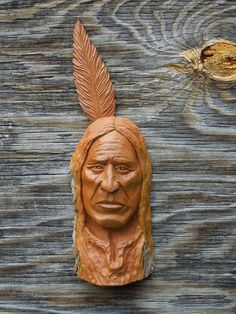 Native American  Wood Carving Spirit Gnome Wizard Indian  Cabin Wall Art