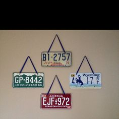 Vintage license plates hung with ribbon in my little boys Route 66-themed bedroom!