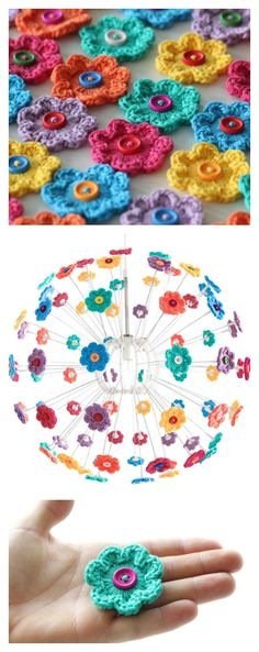 Mini Hoop Flowers Free Crochet Pattern