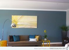 Interesting Blue And Yellow Pillows: Outstanding Eclectic Living Room Blue And Yellow Pillows Blue Walls Arc Lamp Custom Rug Yellow Accent Pillows Living Room White Chairs Grey Sofa Ottoman Planter Large Pot Blue And Yellow Living Room, Teal Living Rooms, Accent Walls In Living Room, Eclectic Living Room, Living Room Paint, Living Room Designs, Living Room Decor, Blue Feature Wall Living Room, Dining Room