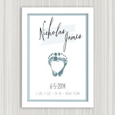 Your Baby's Footprint Art Personalized Baby Gift by FlutterbyePrints