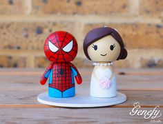 Spiderman and bride wedding cake topper by Genefy Playground   https://www.facebook.com/genefyplayground
