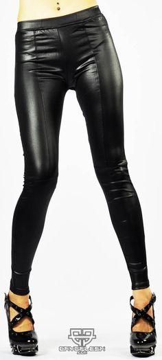 Patchwork Wetlook Leggings