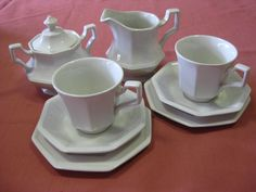 Johnson Bros Tea for 2 set, comprising 2 x trios with matched lidded sugar bowl & creamer All pieces in very good condition. $40 +pp to Australia only.