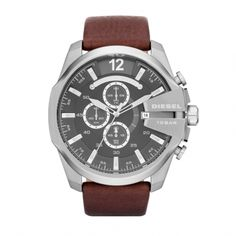Diesel Mens Mega Chief Classic brown leather Watch DZ4290.  An eye-catching timepiece with vivid silver details, this watch demands attention. The highly-fashionable silver stainless steel case and brown leather band ensure you will stay dressed to the nines under any circumstances.