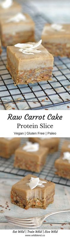 Think delicious and flavorful carrot cake infused with cinnamon and vanilla spice. Then add to that creamy cashew-based icing and you´ll get a wonderfully addictive raw slice jam-packed with extra protein and lots of healthy fats! Get the full recipe here: https://www.wildblend.co/carrot-cake-protein-slice/