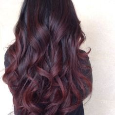 Deep burgundy cherry hair... Maybe try this the next time I dye my hair? #burgundy #darkredombre #fallcolor