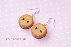 Fimo Kawaii cookie earrings with strawberry filling
