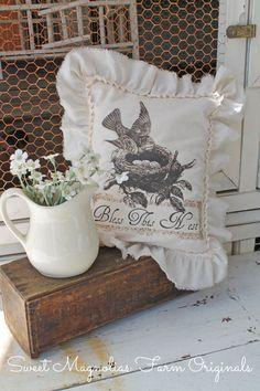 "Farmhouse Sawdust Pillow ""Bless This Nest"" by SweetMagnoliasFarm, $18.00 Sweet Magnolias Farm Design ©"