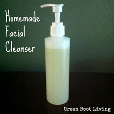 Homemade Facial Cleanser  Homemade facial cleanser is easy to make, inexpensive, and non toxic.  I have seen a few homemade facial cleanser formulas floating around pinterest.  This is my version of an easy to make homemade facial cleanser.    Ingredients:  1/2 cup liquid castle soap  1/2 cup rose water  1 1/2 tsp of apricot kernel oil, sweet almond oil, or olive oil  7-10 drops of essential oil (I used rose hip seed oil)  Mix ingredients together and voila!  Pour into a small pump bottle