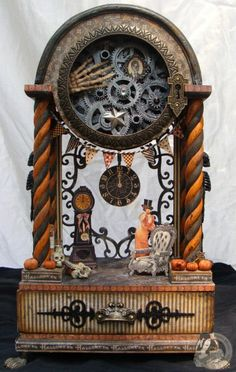 Altered Steampunk Halloween Clock via Sunny Skye Creations Art and Designs By Nicole Eccles on Etsy : http://www.etsy.com/listing/109091646/altered-steampunk-halloween-clock