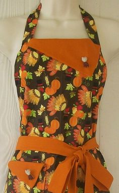 Thanksgiving Turkey / Pumpkin Motif Full Retro Apron by Eclectasie, $35.00