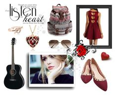 """listen your heart ! <3"" by meladelic ❤ liked on Polyvore featuring Charlotte Russe, Wet Seal, Aéropostale, Ray-Ban, Sola and Accessorize"