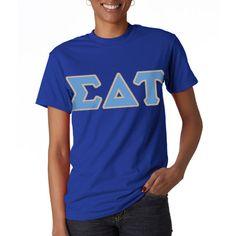Sigma Delta Tau Sorority Letter T-Shirt  #Greek #Sorority #Clothing #SigmaDeltaTau #SDT #SigDelt