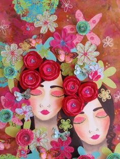 Made-By-Me....Julie Ryder: Butterflies, flowers…..another canvas!