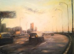 On the way to the city 37 x 50 cm // 14,5 x 19,6 inches Oil on fiberboard Available