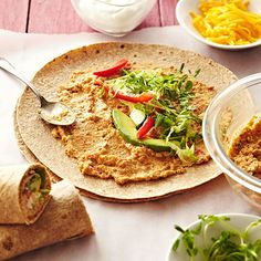Wraps are the quintessential lunch box solution. Make your own savory red pepper hummus and top with lettuce, sweet pepper strips, avocado, microgreens, and sour cream or cheese if desired. Then, use that hummus as a delectable dipper for carrot sticks and cucumbers!