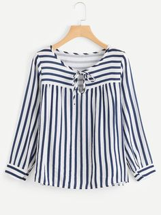 SheIn offers Contrast Stripe Tie Neck Blouse & more to fit your fashionable needs. Kurta Designs, Blouse Designs, Tie Neck Blouse, Blouse Dress, Shein Dress, Bluse Outfit, Hijab Stile, Blouse Styles, Blouses For Women