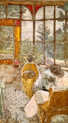 Two Women Embroidering on a Veranda / Edouard Vuillard. Living with his mother until the age of sixty, Vuillard was very familiar with interior and domestic spaces. Much of his art reflected this influence, largely decorative and often depicting very intricate patterns.
